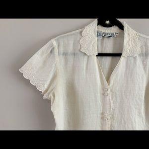 Vintage linen blouse, size M